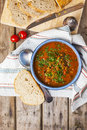 Lentil and tomato soup Royalty Free Stock Photo