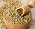 Lentils on a wooden table selective focus Stock Photos