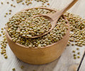 Lentils on a wooden table selective focus Royalty Free Stock Images