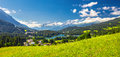 Lenzerheide village with Haidisee in Swiss Alps Royalty Free Stock Photo