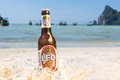 Leo beer on the beach Royalty Free Stock Photo