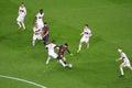Leo messi ball fc barcelona vs ac milan champions league match camp nou stadium barcelona Stock Image