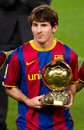 Leo Messi with Golden Ball Award Stock Photography