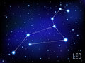 Leo  Zodiac sign bright stars in cosmos. blue and black background Royalty Free Stock Photo