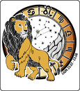 Leo zodiac sign horoscope circle vector illustrati one lion is on the on are symbols of all signs on a white background graphic Stock Photography