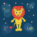Leo zodiac sign on night sky background with stars