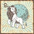 Leo zodiac sign weinlese horoskopkarte Stockbilder