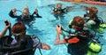 Leçon de plongée à l'air Image stock