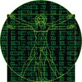 Leonardo da vinci man as a matrix background Royalty Free Stock Photos