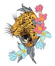 Leopard jaguar tattoo with flowers. Jaguar face with flowers, color tattoo. Royalty Free Stock Photo