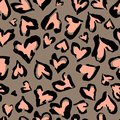 Leopard pattern. Seamless print. Abstract repeating pattern - heart leopard skin imitation can be painted on clothes or fab
