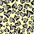 Leopard pattern. Seamless vector print. Abstract repeating pattern - heart leopard skin imitation can be painted on clothes or fab
