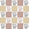 Leopard patterns for textiles and wallpaper illustration of a head fur Stock Photo