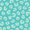 Leopard Print Seamless Vector Pattern. Leopard print design with floral elements in pastel turuoise colors.