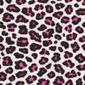 Leopard print. Vector seamless pattern with black and pink spots. Animal texture