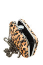Leopard purse opened isolated on white background Royalty Free Stock Photo