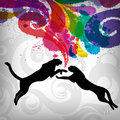 Leopard silhouette on  grunge background Royalty Free Stock Photography