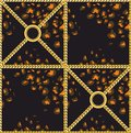 Leopard skin pattern with golden chains. Luxury design print for fabric on black background. - Vector Royalty Free Stock Photo