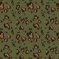 Leopard skin seamless pattern on green background. Animal print.