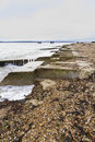 Lepe beach – launch site for wwii mulberry harbours concrete remains of phoenix breakwater caissons hampshire england united Stock Image
