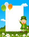 Leprechaun and balloons photo frame st patricks or saint patrick s day vertical with a grass flowers eps file available Stock Photo
