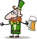 Leprechaun with beer cartoon illustration Royalty Free Stock Photos