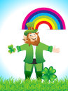 Leprechaun cartoon with clove vector illustration Stock Photography