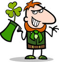 Leprechaun with clover cartoon illustration Stock Images