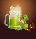 Leprechaun Drinking Beer through Straw Stock Photography