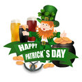 Leprechaun in a green hat. Three kinds of beer. Pot with coins. Two leaves of clover. Horseshoes. An inscription for St