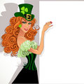 Leprechaun holding a large banner Stock Images