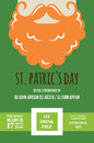 Leprechaun or Irish man with mustache and beard for St. Patricks Day pub or party invitation