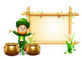 Leprechaun for patrick day with golden coins and sign d rendered illustration of Stock Photos