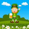 Leprechaun patrick s day drinking beer happy cartoon character holding a mug and smiling in a spring countryside scene useful also Stock Images