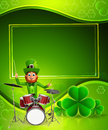 Leprechaun for patrick s day with drum set d rendered Stock Photos