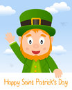 Leprechaun patrick s day greeting card happy st patricks or saint with a cartoon character smiling and eps file available Stock Photos