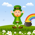 Leprechaun patrick s day and pot of gold happy cartoon character smiling near the legendary in a spring countryside scene useful Royalty Free Stock Photography