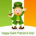Leprechaun patrick s day smoking pipe happy cartoon character a in front of the flag of ireland useful also for st patricks or Royalty Free Stock Photo