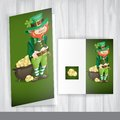 Leprechaun with pot of gold greeting card design template st patrick s day vector illustration eps Royalty Free Stock Image