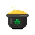 Leprechaun pot of gold icon in flat style design.