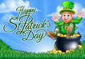 Leprechaun and Pot of Gold St Patricks Day Sign
