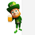 Leprechaun for st patrick s day with big white sign and beer glass d rendered illustration of Royalty Free Stock Photo