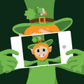 Leprechaun taking selfie with smartphone eps vector stock illustration Royalty Free Stock Image