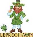Leprechaun with title in a green coat four leaf clover Stock Photos