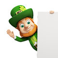 Leprechaun with white sign for st patricks day d rendered illustration of Royalty Free Stock Photos