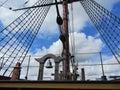 Les détails de calage et de corde d une navigation grande Images libres de droits