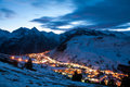 Les deux alpes at night Royalty Free Stock Photo