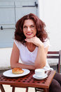 Les filles du ème etage attractive business woman in small french breakfast Royalty Free Stock Images