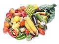Les fruits ont isolé des légumes Photographie stock libre de droits