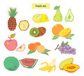Les fruits ont placé les illustrations tirées par la main Photo libre de droits